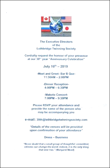 Upcoming Events   The Lethbridge Twinning Society